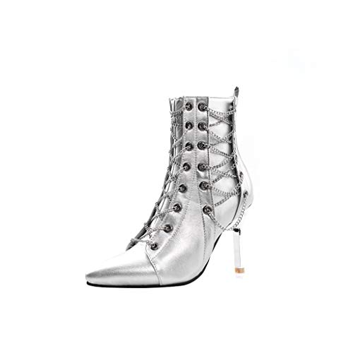 OutTop(TM) Women's High Heels Boots Ladies Thin Heels Pointed Toe Zipper Chain Stylish Retro Punk Sexy Shoes Boots (US:6, Silver)