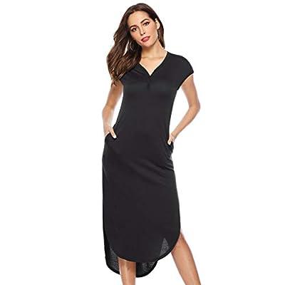 Women's Maxi Dress Women Casual Long Dress Solid Color V Neck Cap Sleeve Boho Slim Dress