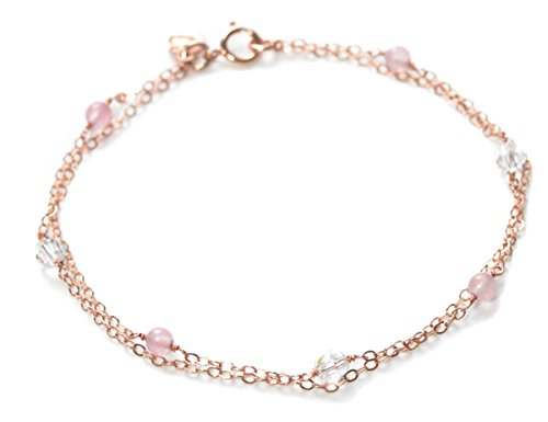 Duet Bracelet - Rose Gold Double Bracelet with Swarovksi & Rose Quartz - Perfect Valentines Gift -