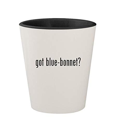 got blue-bonnet? - Ceramic White Outer & Black Inner 1.5oz Shot Glass ()