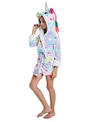 Girl's Unicorn Hooded Robe Boys Fleece Bathrobe Kids Toddlers Pajamas Sleepwear