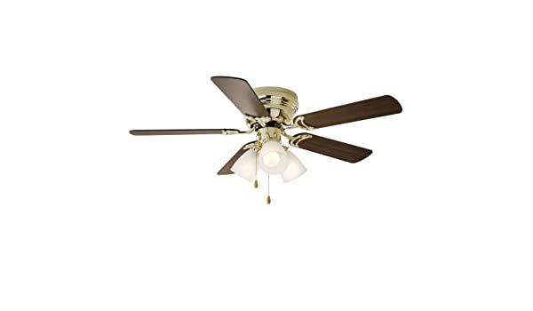 Amazon com: 42 Chapter Ceiling Fan, 3 Light, Hugger, Bright Brass