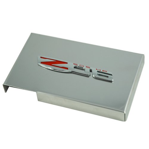 2005-2013 C6 Corvette Polished Stainless Steel Fuse Box Cover with OEM Z06 Emblem