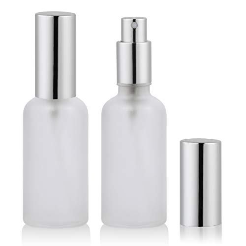 (2oz Glass Spray Bottles for Essential Oils, Perfume Atomizer, Fine Mist Spray,Refillable, Empty, Frosted (2 Pack))
