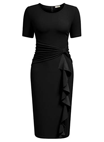 AISIZE Women 1950s Vintage Ruffle Cocktail Knee Dress Small Black ()