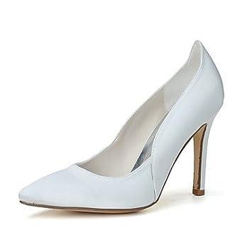 287c1cf2a7 SHUAI shoes El mejor regalo para mujer y madre Mujer Zapatos Satén  Primavera Verano Pump Básico Zapatos