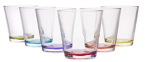 European Reflections Dinner (Coral Hera Modern European Glassware, Set of 6 Assorted Colors, 8 oz)
