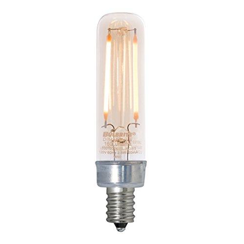 Bulbrite 776504 25W Equivalent LED2T6/22K/FIL-NOS 2W LED Nostalgic Mini Radio Tube Bulb with Candelabra Base, Antique ()