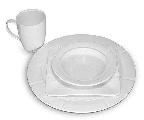 Carmona Rome Collection 4 Person White Dinnerware Set of 16 Porcelain Dishes Set New Bone China