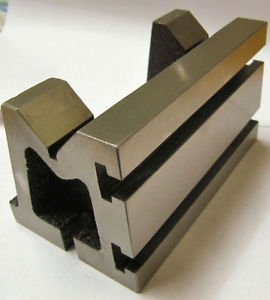 QUALITY PRECISION GRADED CASTE IRON VEE ANGLE PLATES-STRESS RELIEVED - WORK-HOLDING CLAMPING MILLING ENGINEERING MACHINE TOOLS-HEAVY DUTY (3'' x 3'' x 5'' (75 x 75 x 125 mm) T-Slotted)