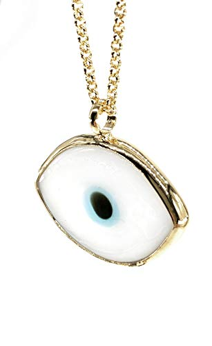 Evil Eye Necklace Oval Murano Glass Pendant Gold filled Chain 18