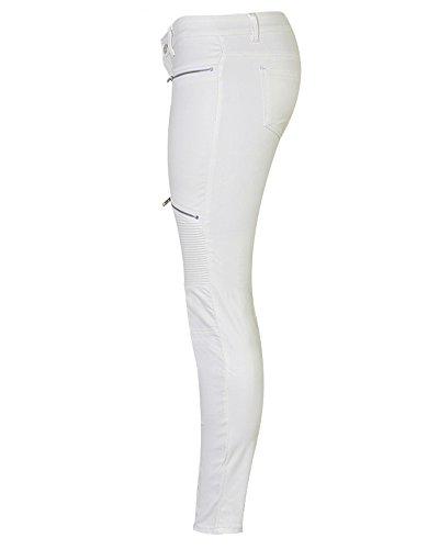 Femmes Pantalons Haute Crayon Collants Push Up Leggings Stretch Blanc Taille Pantalon Jeans Skinny Denim FxdUUPA