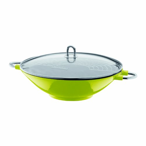 Bodum Chambord Enameled Cast Iron Wok With Glass Lid, Lime Green
