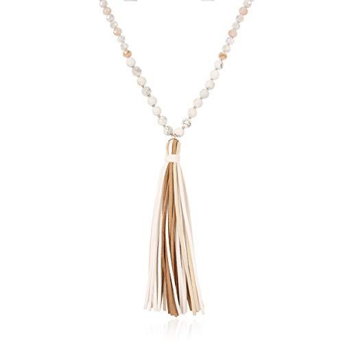 Charm Multi Stone (RIAH FASHION Tassel Pendant Bohemian Statement Long Necklace - Silky Strand Fan, Teardrop Thread, Beaded, Faux Suede Fringe, Pearl Charm (Multi Tassel & Natural Stone - White Howlite))