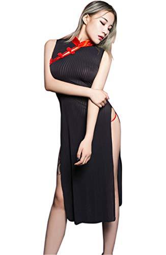 2268f334d Aiybao Womens Sexy Cosplay Costume Cheongsam Lingerie Strappy Corset  Nightie Sleepwear Underwear Dress