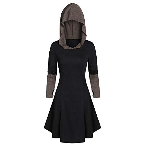 Dress Up 77 Net (Sunhusing Women's Stitching Color Long-Sleeve Back Drawstring Lace-Up Hoodie Autumn Winter Long Cloak Top)