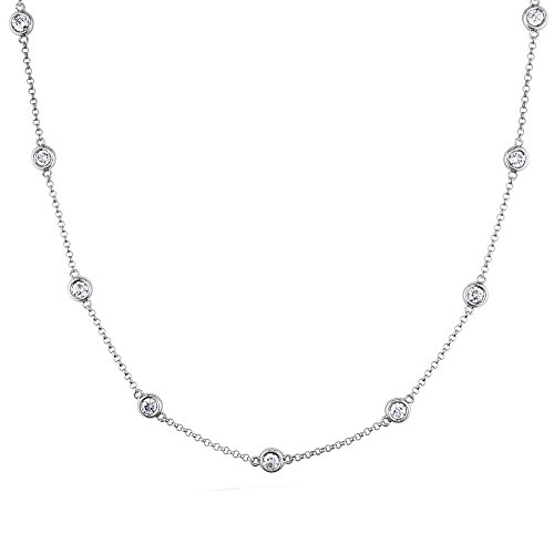 Voss+Agin Genuine Diamond by The Yard Bezel Set 10 Station Strand Necklace (.50CTW) in 14K White Gold, ()