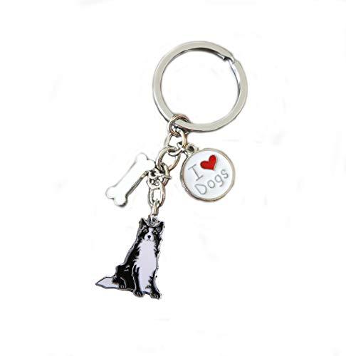 Keychains, Lovely Dog Key-ring Portable Metal Keychain Keyring Key Decor Car Keyring Tag (Border Collie) ()
