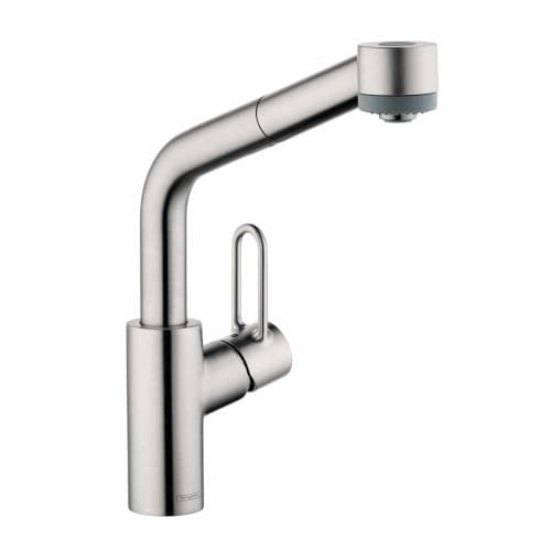 Hansgrohe 04703 Talis Loop Single Handle Pull-Out Spray Kitchen Faucet with Lock, Steel Optik by Hansgrohe