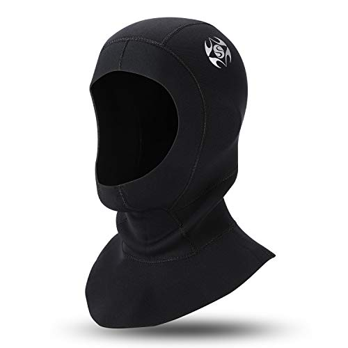 Oumers Neoprene Scuba Diving Hood 3MM Wetsuit Diving Cap, with Flow Vent to Eliminate Trapped Air, Bib Dive Hood Warm Durable Stretchable for Surfing Snorkeling Kayaking Sailing Canoeing Water Sports