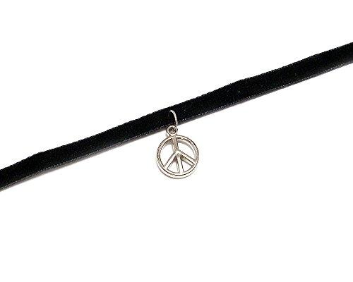 Sign Necklace Heart Peace (Mia Jewel Shop Silver Charm Dangle Black Velvet Ribbon Choker Necklace (Peace Sign))