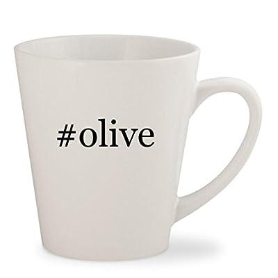#olive - White Hashtag 12oz Ceramic Latte Mug Cup