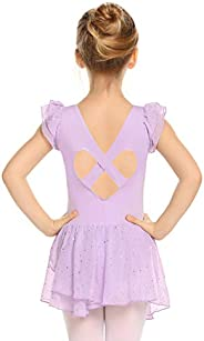 Zaclotre Girls Ruffle Sleeve Ballet Skirted Leotard Hollow Back Sparkle Dance Dresses