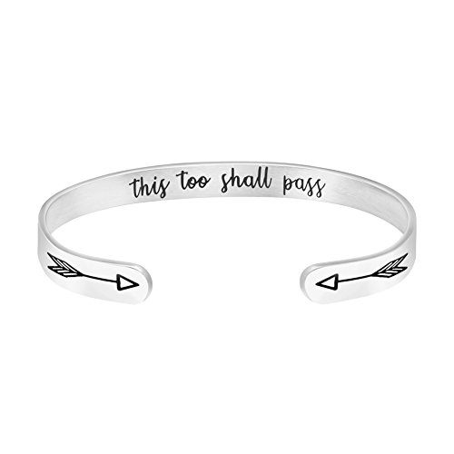 MEMGIFT This Too Shall Pass Inspirational for Women Hidden Message Engraved Cuff Bangle Personalized Stainless Steel Jewelry (This Too Shall Come To Pass Quote)