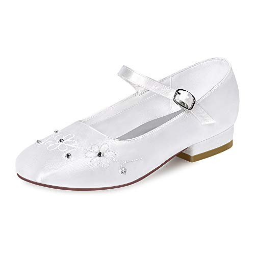 ERIJUNOR E1323A White Communion Shoes Comfortable Flower Girls Dressy Shoes Dyeable Satin Size 13 -
