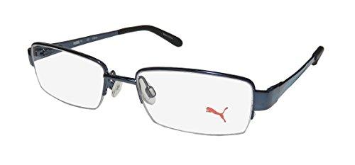 Puma 15406 Mens/Womens Designer Half-rim Spring Hinges Eyeglasses/Eyewear (48-17-135, Blue / - Glasses Aqua Frames