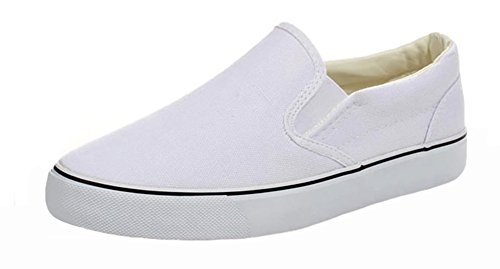 Popuus Womens Trendy Canvas Shoes Loafers White EMcHBhQ