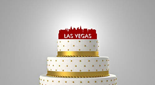 Las Vegas Nevada City Skyline Personalized Wedding Cake Topper & Keepsake - For the City Wedding, Personalized with your name or phrase.