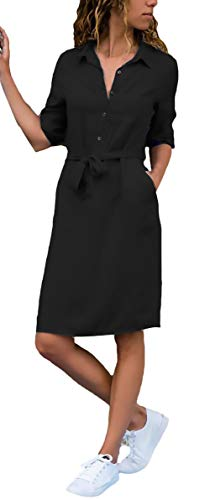 Sciolto Vestito Cintura Vestono Monocromo Bavero Nero 4 Manica Al Moda Camicette Abiti Giovane Elegante Ginocchio Inclusa Estivi 3 Donna PqBwBax6