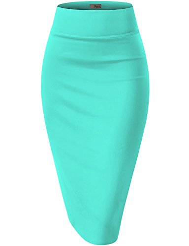 HyBrid & Company Womens Pencil Skirt for Office Wear KSK43584 1139 Mint L