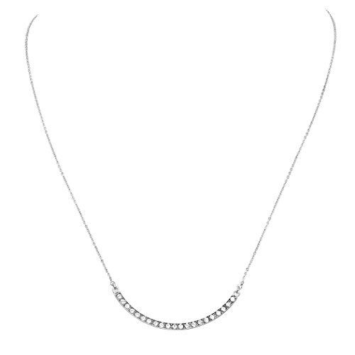 Rosemarie Collections Women's Curved Metal Bar Rhinestone Pendant Necklace (Silver -