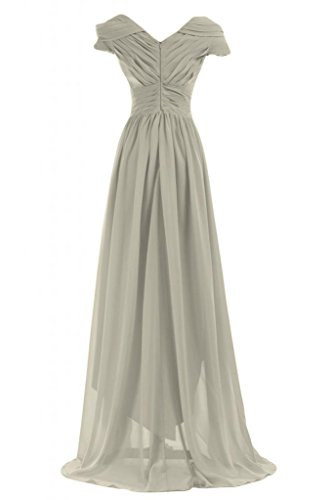 della maniche corte madre damigella sposa Sunvary Silver abito scollo Gowns Pageant V con a Graceful per d'onore q8UxxgE