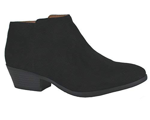 Pictures of Soda Western Ankle Boot- Cowgirl Low Heel Isu Black 1