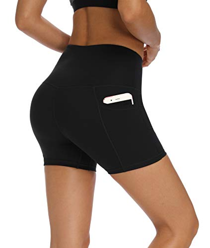 Fengbay High Waist Yoga Shorts, Workout Running Shorts with Side Pockets Tummy Control Biker Shorts for Women Black