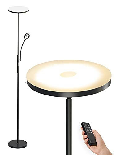 Anten Staande lamp LED dimbaar | zwarte vloerlamp 30W met flexibele 5W leeslamp | moderne plafondschijnwerper 2000LM met…