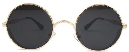 62bac25d984e Vivian   Vincent Vintage Hippie Retro Metal Round Circle Frame Sunglasses (Gold  Frame Black Lens