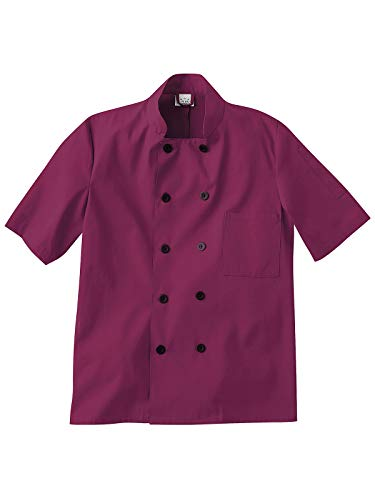 Five Star Chef Apparel 18025 Unisex Short Sleeve Chef Jacket Wine S