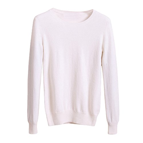 Cutecc Women's Basic Long Sleeves Crew Neck Solid Sweater Knitted Tunic Tops Pullover (White, 3XL/US 14)