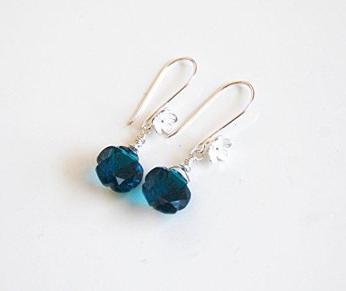 Teal Blue Quartz Carved Flower Briolette Dangle Drop Earrings-Wedding Jewelry -Bridal Accessories Mother's Day Earrings-Mother's Day jewelry