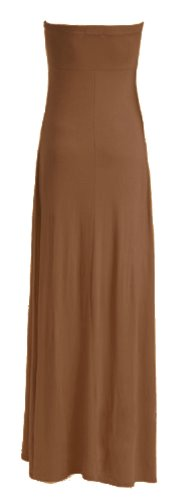 Damen Plain Knoten Vor Boobtube Viskose Jersey Maxi Kleid (S/M (UK 8�?0), mokka)