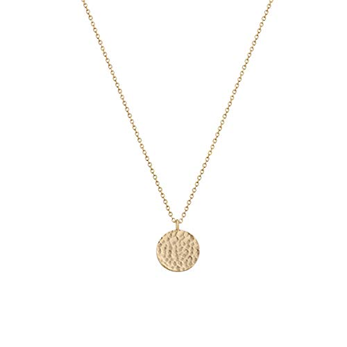 LOYATA Full Moon Pendant Necklace, 14K Gold Plated Moon Necklace Hammered Full Moon Round Disc Coin Pendant Necklace for Women Girls (Full Moon Gold) ()