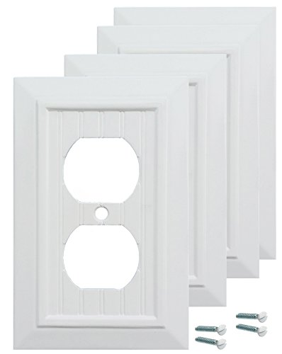 Pack of 4 Wall Plate Outlet Switch Covers by SleekLighting | Classic Beadborad Wall plates| Variety of Styles: Decorator/Duplex/Toggle/Blank/& Combo | Size: 1 Gang Receptacle by SleekLighting