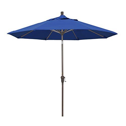 California Umbrella 9' Round Aluminum Market Umbrella, Crank Lift, Auto Tilt, Champagne Pole, Fade Resistant Pacific Blue Fabric