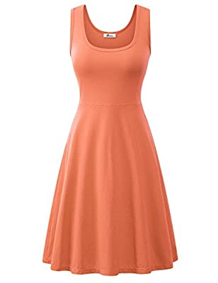 Herou Summer Spring Sleeveless Casual Flared Tank Dresses for Women