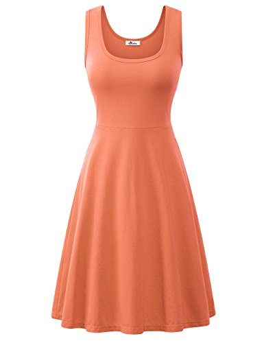 (Herou Tank Dresses for Women Casual Flared Coral Large)