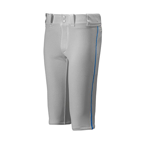 (Mizuno Youth Premier Piped Short Baseball Pant, Grey-Royal, Youth Large)